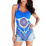 Women's Going out / Casual/Daily Simple Summer / Fall BlousePrint Halter Sleeveless Blue / White / Black