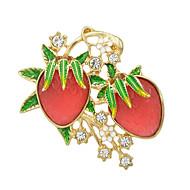 Fashion Rhinestone Enamel Strawberry Shape Big Brooches