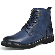 Men's Boots Fashion Boots / Bootie Cowhide / Leather Casual Flat Heel Lace-up Brown / Gray / Blue