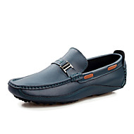 Men's Boat Shoes Moccasin Leather Office & Career / Casual Flat Heel Slip-on Black / Blue / Brown Walking EU39-43