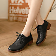 Women's Oxfords Fall Comfort Leather Casual Platform Lace-up Black Brown Beige Others
