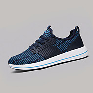 Men's Sneakers Spring Summer Comfort Fabric Athletic Flat Heel Lace-up Black Blue Black and Red