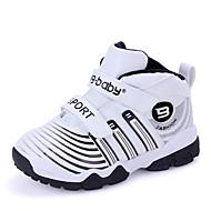 לבנים-נעלי אתלטיקה-PU-מעוגל-שחור / לבן / כחול ים-קז'ואל-עקב שטוח