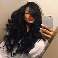 cabelo à moda onda do corpo parte do meio de alta temperatura jet peruca cor preta diária desgaste natural