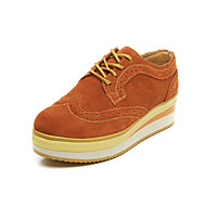 Women's Sneakers Spring / Fall / Winter Comfort Suede Outdoor / Dress / Casual Flat Heel Lace-up Yellow / Coffee Walking