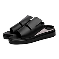 Men's Sandals Summer Leatherette Outdoor Flat Heel Others Black White Others