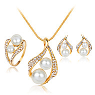 Lucky Doll Women's Alloy Rhinestone Imitation Pearl Silver Plated Necklace & Earrings & Ring Jewelry Sets