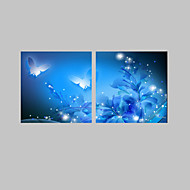 E-HOME® Stretched LED Canvas Print Art Shining Butterfly LED Flashing Optical Fiber Print Set of 2