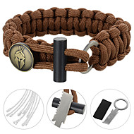 FURA SurvivalParachute Rope Bracelet with Flintstone / Knife - Black / Green / Orange / Camouflage / Khaki / Brown
