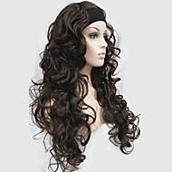 половина парик 3/4 парики с оголовьем длинные вьющиеся из синтетических волос парик для женщин