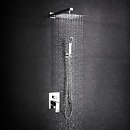 Contemporary Shower System Rain Shower Widespread Handshower Included with  Ceramic Valve Two Handles  Chrome