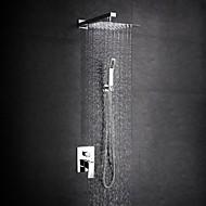 모던 샤워 시스템 레인 샤워 와이드를 분무 핸드샤워 포함 with  도자기 발브 두 손잡이 하나의 구멍 for  크롬 , 샤워 수전