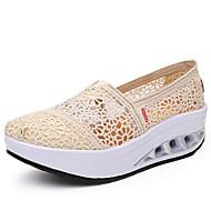 נשים-נעליים ללא שרוכים-טול / קנבס-קריפרס-שחור / כחול / בז'-שטח / קז'ואל-פלטפורמה