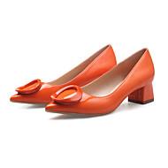Femme-Décontracté-Noir Orange Rouge Amande-Gros Talon Block Heel-Confort-Chaussures à Talons-Similicuir
