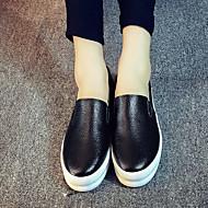 נשים-נעליים ללא שרוכים-עור-נוחות-שחור / לבן-שטח / קז'ואל-עקב שטוח