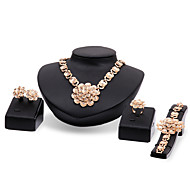 Lucky Doll Women's Alloy Rhinestone 18K Gold Plated Necklace & Earrings & Bracelet & Ring Jewelry Sets
