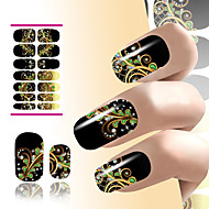 bloem nail art sticker water decals hars zwarte droom pauwenveren voor nagels decoraties manicure wraps