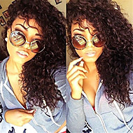 Unprocessed 8A Brazilian Virgin Hair Natural Black Color Kinky Curly Full Lace Wig With Baby Hair