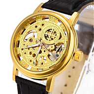 Men's Fashion Hollow Engraving Automatic Mechanical Watch with Genuine Leather