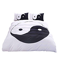 BeddingOutlet Tai Chi Bedding Set White and Black Bed Cover Yin Yang Printed Twin Full Queen King