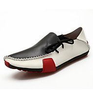 Men's Flats Summer Moccasin / Comfort / Round Toe Cowhide Casual Flat Heel Others / Lace-up Black / Brown /