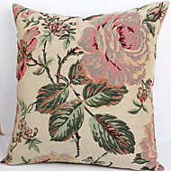 Linen Pillow Cover/Case   Woven Traditional/Classic Big Brown Flower Feature
