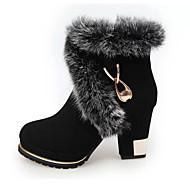 נשים-מגפיים-עור-מגפי אופנה מגפי שלג-שחור-שטח יומיומי-עקב עבה