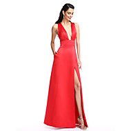 TS Couture Prom Formal Evening Dress - Furcal A-line V-neck Floor-length Satin with Pockets Split Front
