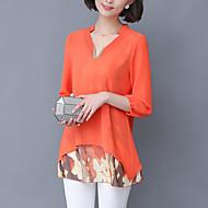 Damen Druck Street Schick Lässig/Alltäglich Bluse,V-Ausschnitt Sommer ¾-Arm Blau / Grün / Orange Baumwolle / Polyester Dünn