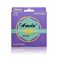 Amola A3100 010-047 Extra Light Bronze Phosphor Ulra Thin Coating ANTI-RUST Plain Steels Acoustic Guitar Strings