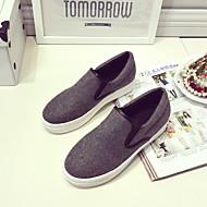 נשים-נעליים ללא שרוכים-נצנצים-נוחות-שחור / אפור-קז'ואל-עקב שטוח