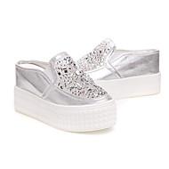 לבנות-שטוחות-PU-נעלי בובה (מרי ג'יין)-ורוד / לבן / כסוף-שטח-עקב שטוח
