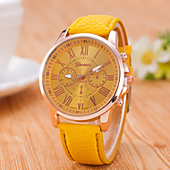 Reloj Mujer  Geneve  New Wrist Watches For Men  Women Quartz Gold Rome's Number Dial  Watch Pu Leather  Clock