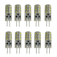 1W 150LM Dimmable Silicone G4 Led  Bulb Crystal Lamp 12V DC 24 SMD 3014 White/Warm White (10 Pieces)