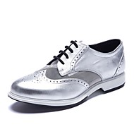 Women's Oxfords Fall Gladiator / Round Toe cow&sheep Skin Office & Career / Casual Low Heel Split Joint / Lace-up