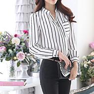 Blusa Da donna Formali Semplice Autunno,A strisce Colletto Bianco Manica lunga Medio spessore