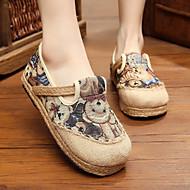 Для женщин На плокой подошве Удобная обувь Полотно Весна Осень Повседневные Удобная обувь На плоской подошве Зеленый СинийНа плоской
