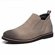 גברים-מגפיים-סוויד-מגפי אופנה-שחור / אפור / בז'-קז'ואל-עקב נמוך