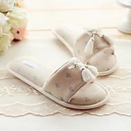 Pantofle a Žabky-Bavlna-S páskem-Dámské-Béžová-Běžné-Plochá podrážka