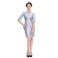 2017 Lanting Bride® Sheath / Column Mother of the Bride Dress Knee-length Half Sleeve Lace / Taffeta