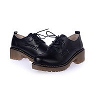 Women's Oxfords Spring / Fall Comfort Cowhide Casual Low Heel  Black / Red Sneaker