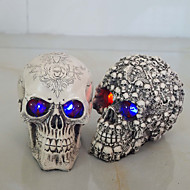 Gifts Resin White Head Skull Halloween Props Small Human Skull Replica Haunted House Room Escape Horrible Gleamy