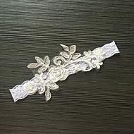 Harisnyakötő Sztreccs szatén Csipke Virág Gyöngyutánzat Fehér Szürke