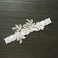 Garter Stretch Satin / Lace Flower / Imitation Pearl White / Gray