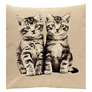 Linen Pillow Cover/Case   Woven Traditional/Classic Two Little Cats Feature