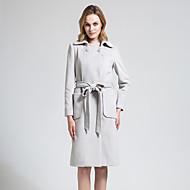 BORME Women's Shirt Collar Long Sleeve Wool & Blends Gray-Y074