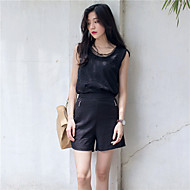 Women's Going out Simple Summer Set PantSolid Round Neck