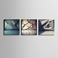 MINI SIZE E-HOME Three Dimensional Geometric Patterns Clock in Canvas 3pcs