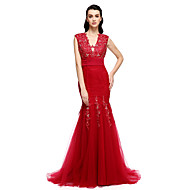Formal Evening Dress - Trumpet / Mermaid V-neck Sweep / Brush Train Lace / Tulle with Appliques / Beading / Sequins