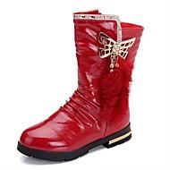 Boty-Kůže-Sněhule / Bootie / Motorkářské boty / Pohodlné-Dívčí-Černá / Červená-Outdoor / Běžné / Atletika-Nízký podpatek